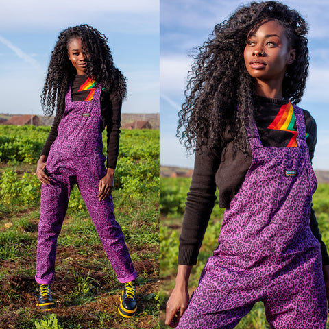 Purple Leopard Print Stretch Twill Dungarees by Run and Fly
