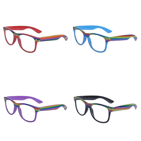 Rainbow Clear Lens Geek Glasses - Minimum Mouse