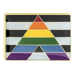 Rainbow Flag Straight Allies Pride Enamel Lapel Pin Badge - Minimum Mouse