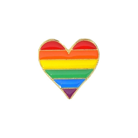 Rainbow Heart LGBT Enamel Lapel Pin Badge - Minimum Mouse