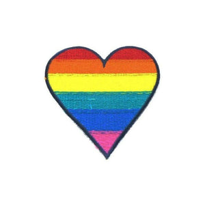 Rainbow Heart LGBT Iron On Patch - Minimum Mouse
