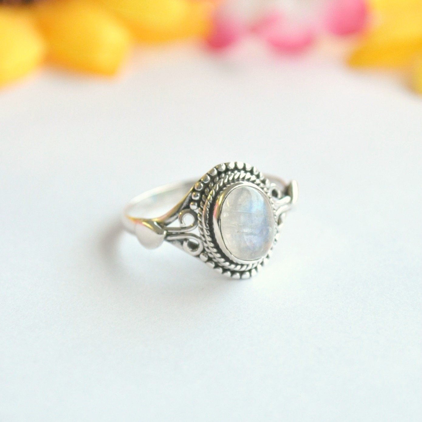 Rainbow Moonstone Sterling Silver Ring - Minimum Mouse
