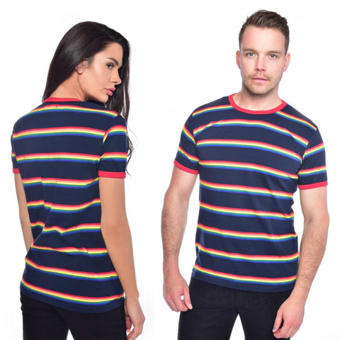 Rainbow Multi Stripe T Shirt by Run and Fly in Navy - Minimum Mouse