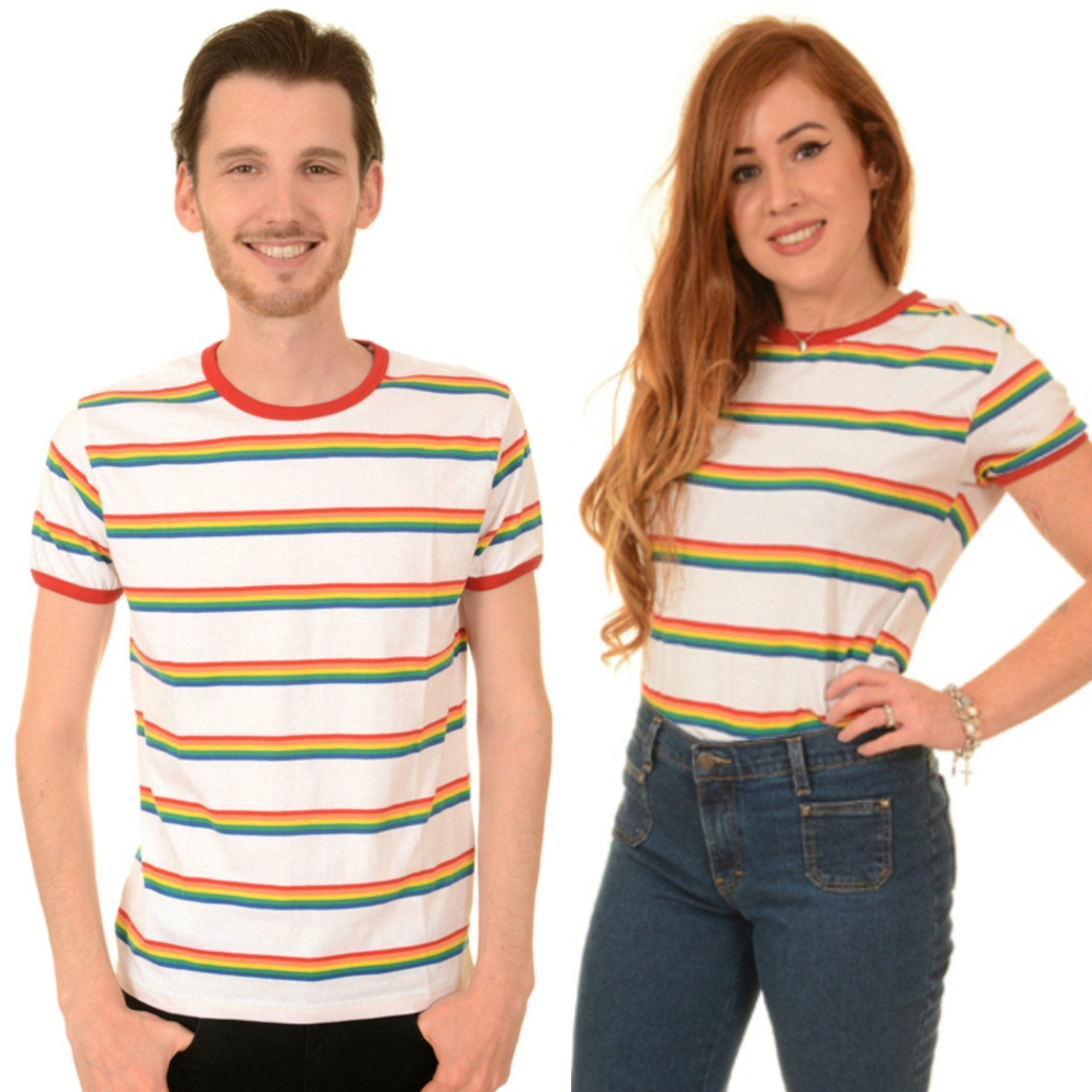 Rainbow Multi Stripe T Shirt by Run and Fly in White - Minimum Mouse