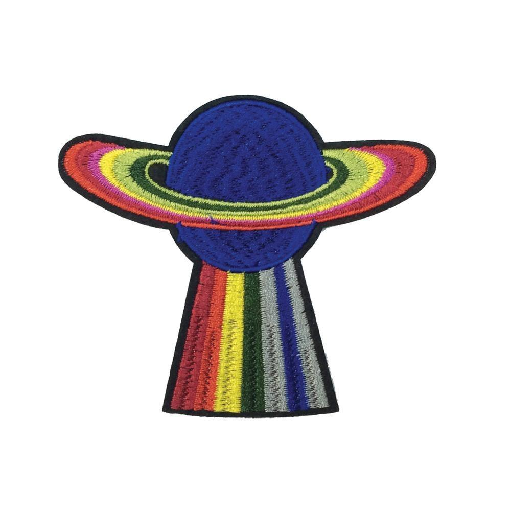 Rainbow Planet Iron On Patch - Minimum Mouse
