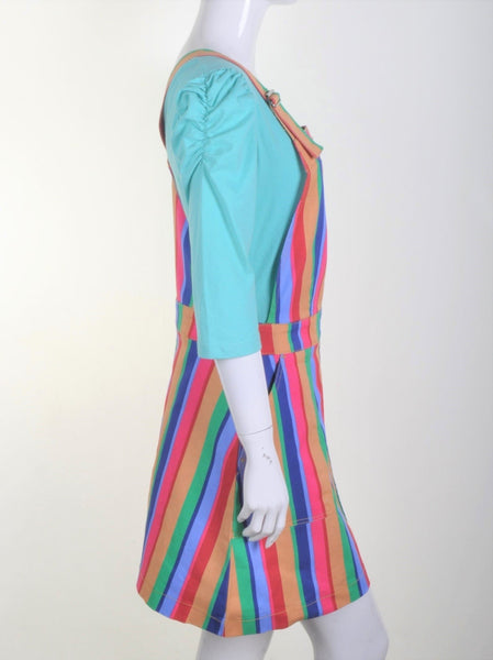 Rainbow Stripe Dungaree Pinafore Dress by Run and Fly - Minimum Mouse