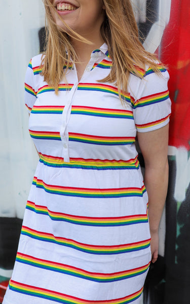 Rainbow Stripe Jersey Dress by Run and Fly in White - Minimum Mouse