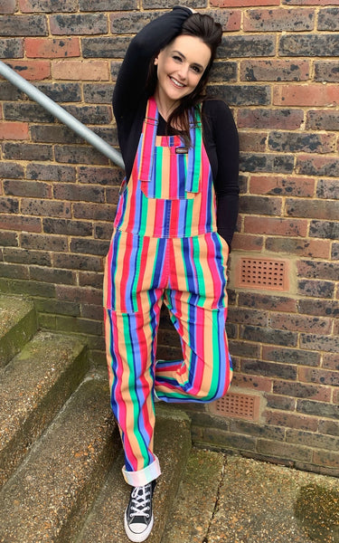 Rainbow Stripe Print Dungarees by Run and Fly - Minimum Mouse