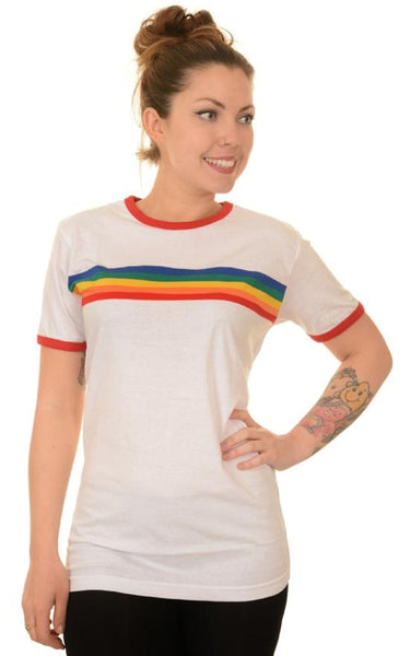 Rainbow Stripe Ringer T Shirt by Run and Fly - Minimum Mouse