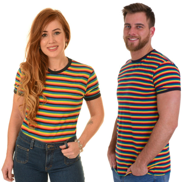 Rainbow Stripe T Shirt by Run and Fly - Minimum Mouse