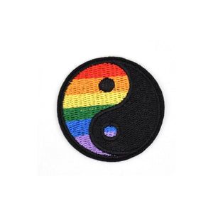 Rainbow Yin Yang Iron On Patch - Minimum Mouse