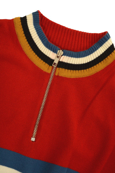 Red Zip Neck Stripe Jumper by Run and Fly - Minimum Mouse