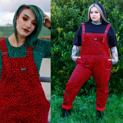 Red Cord Leopard Print Dungarees by Run and Fly