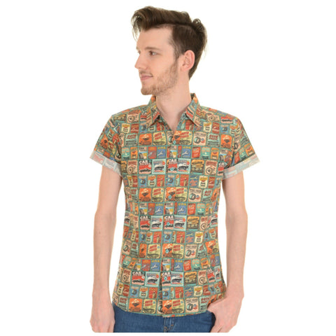 Retro 50s Car Garage Print Shirt by Run and Fly - Minimum Mouse