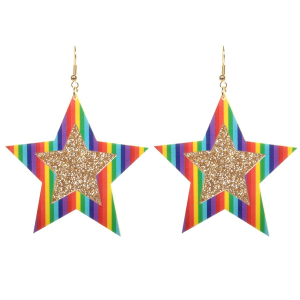 Retro Rainbow Sparkle Star Earrings by Love Boutique - Minimum Mouse