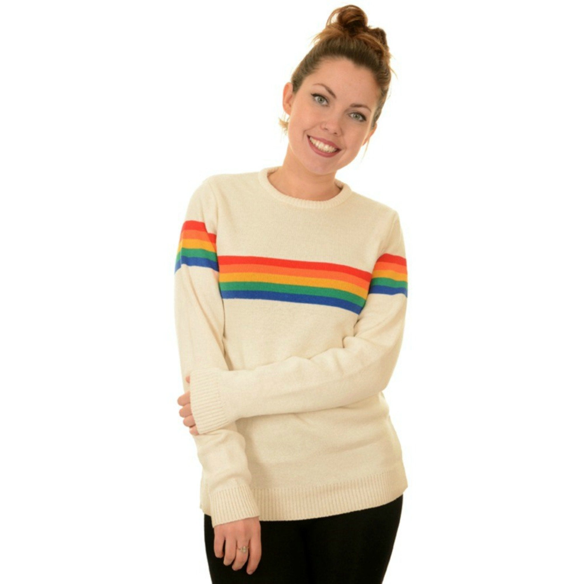Retro Rainbow Stripe Jumper by Run and Fly in Ecru - Minimum Mouse