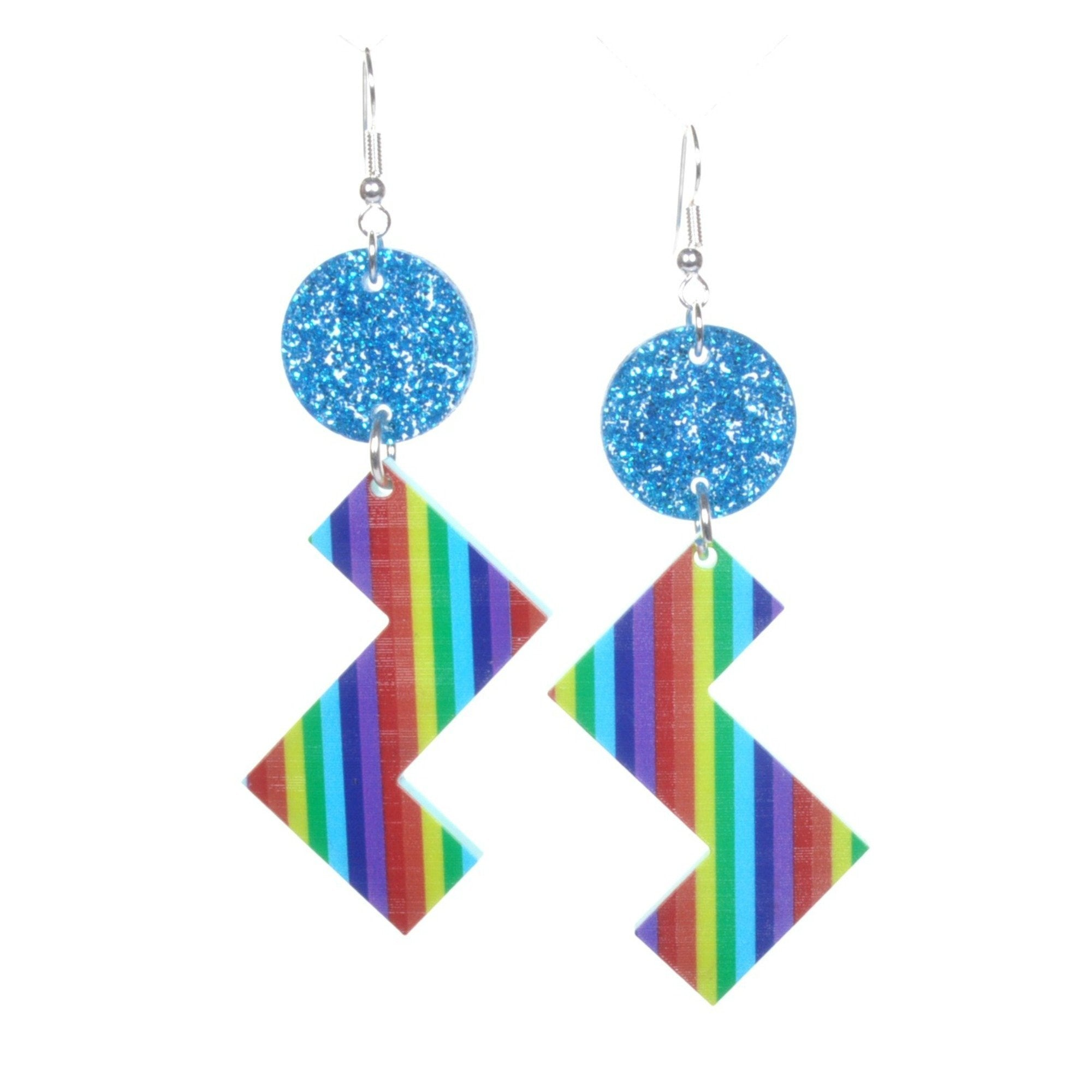 Retro Rainbow Zig Zag Earrings by Love Boutique - Minimum Mouse