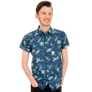 Retro Space Rocket Print Shirt by Run and Fly - Minimum Mouse
