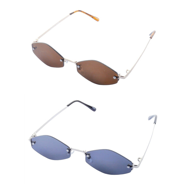 Rimless Diamond Frame Sunglasses - Minimum Mouse