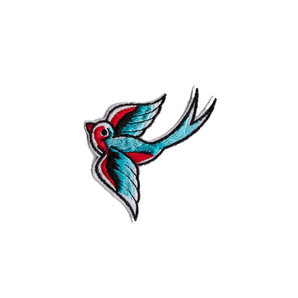 Rockabilly Swallows Iron On Patch - Minimum Mouse