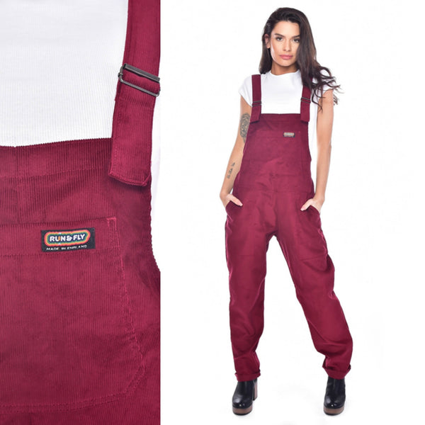 Burgundy Corduroy Dungarees by Run and Fly