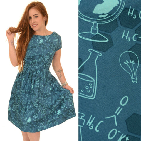 Science Geek Print Dress by Run and Fly - Minimum Mouse