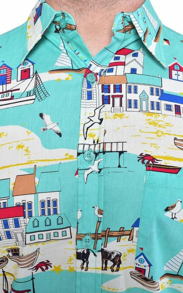 Seaside Beach Print Shirt by Run and Fly - Minimum Mouse