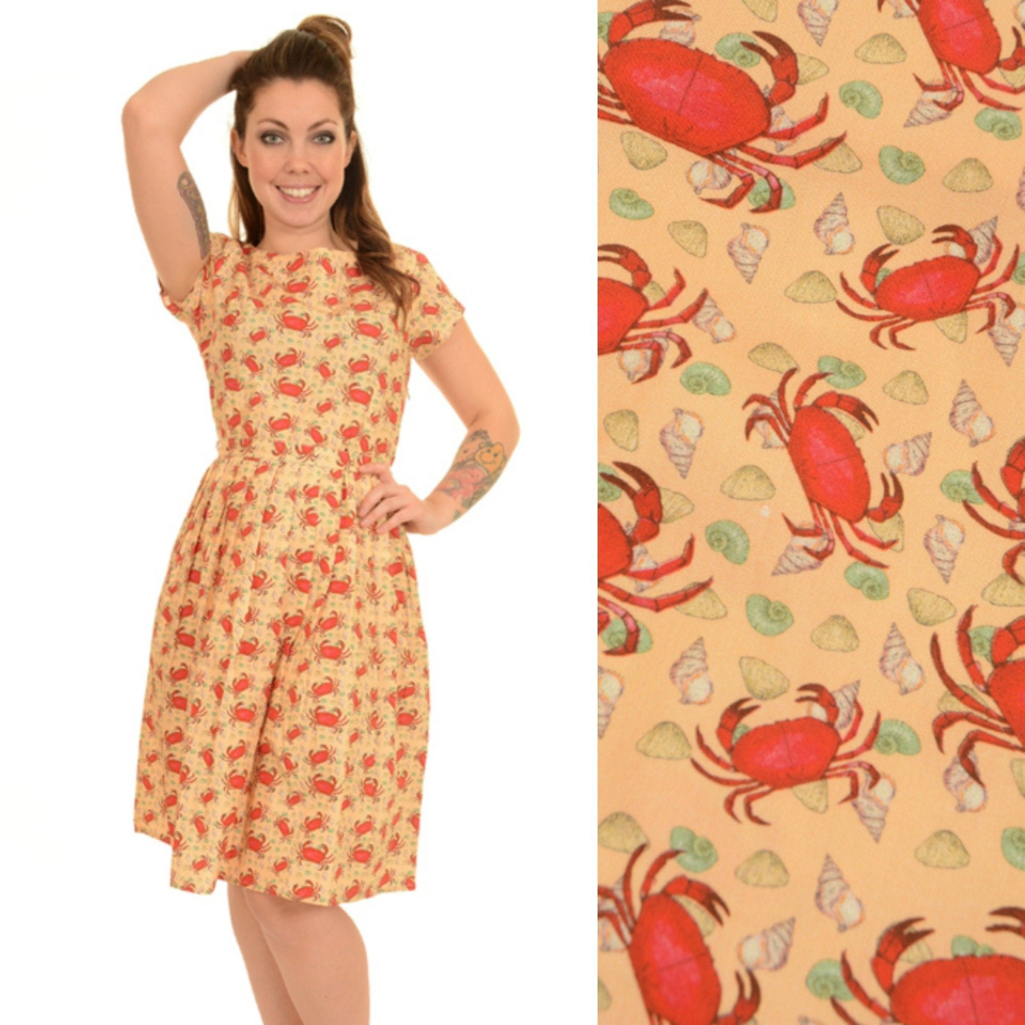 Seaside Crab Print Dress by Run and Fly - Minimum Mouse