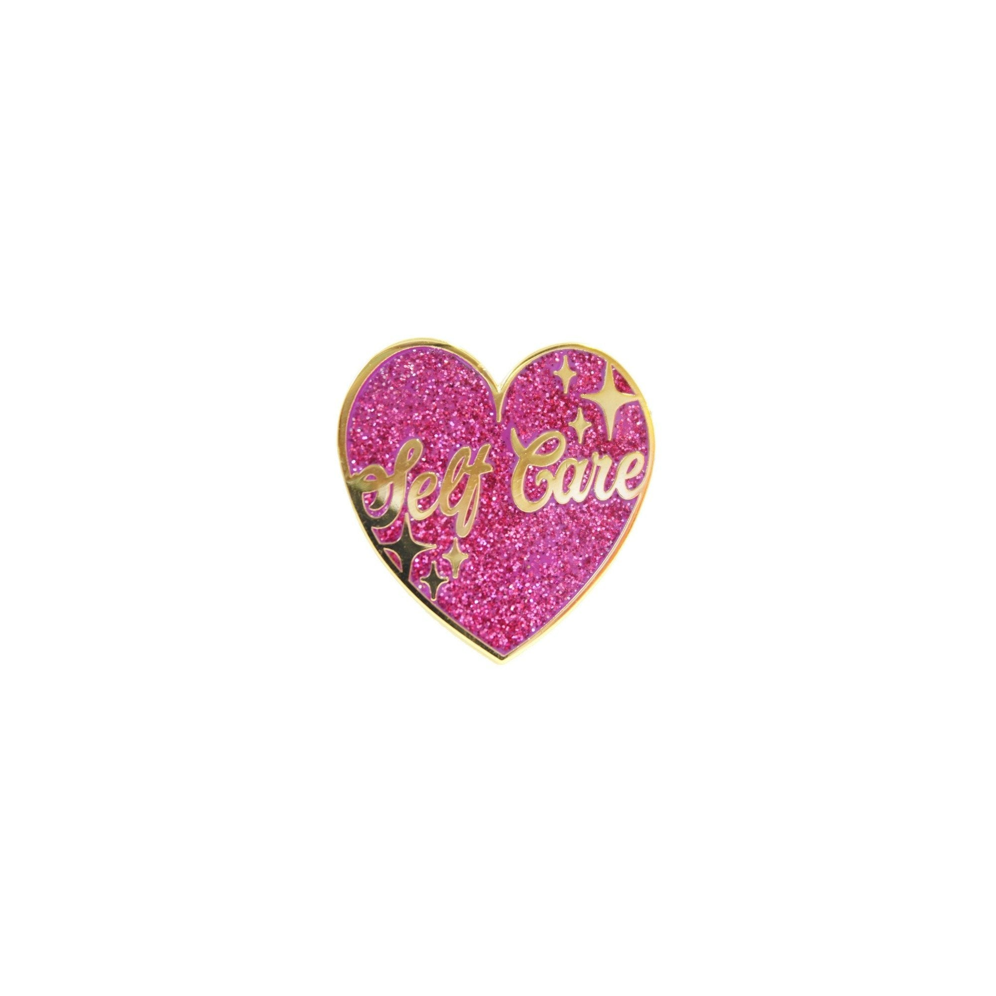 Self Care Glittery Heart Lapel Pin Badge - Minimum Mouse