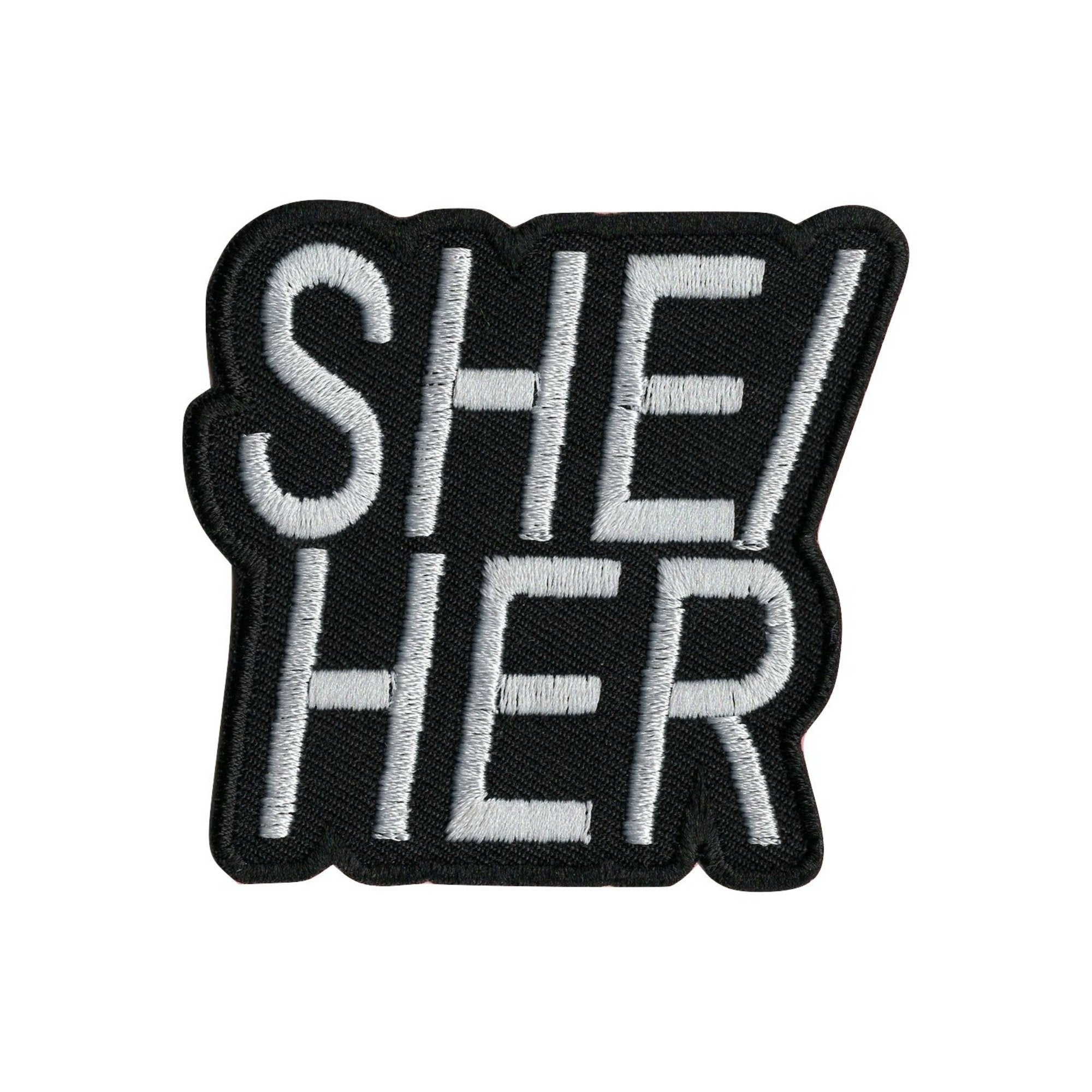 She/Her Pronoun Iron On Patch - Minimum Mouse
