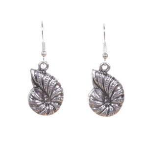 Silver Ammonite Earrings - Minimum Mouse