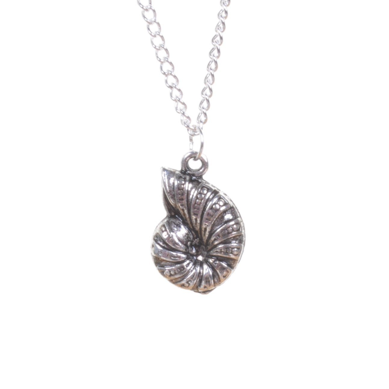 Silver Ammonite Pendant Necklace - Minimum Mouse