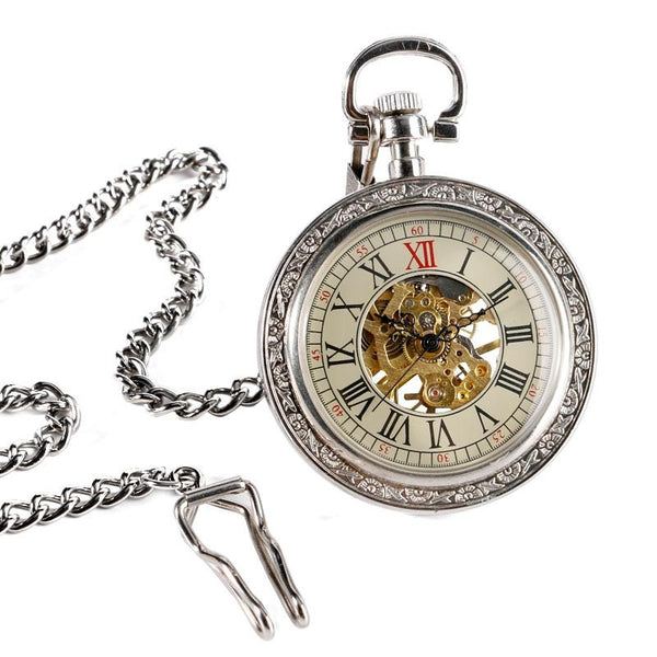 Silver Glass Front Mechanical Hand Wind Pocket Watch - Minimum Mouse