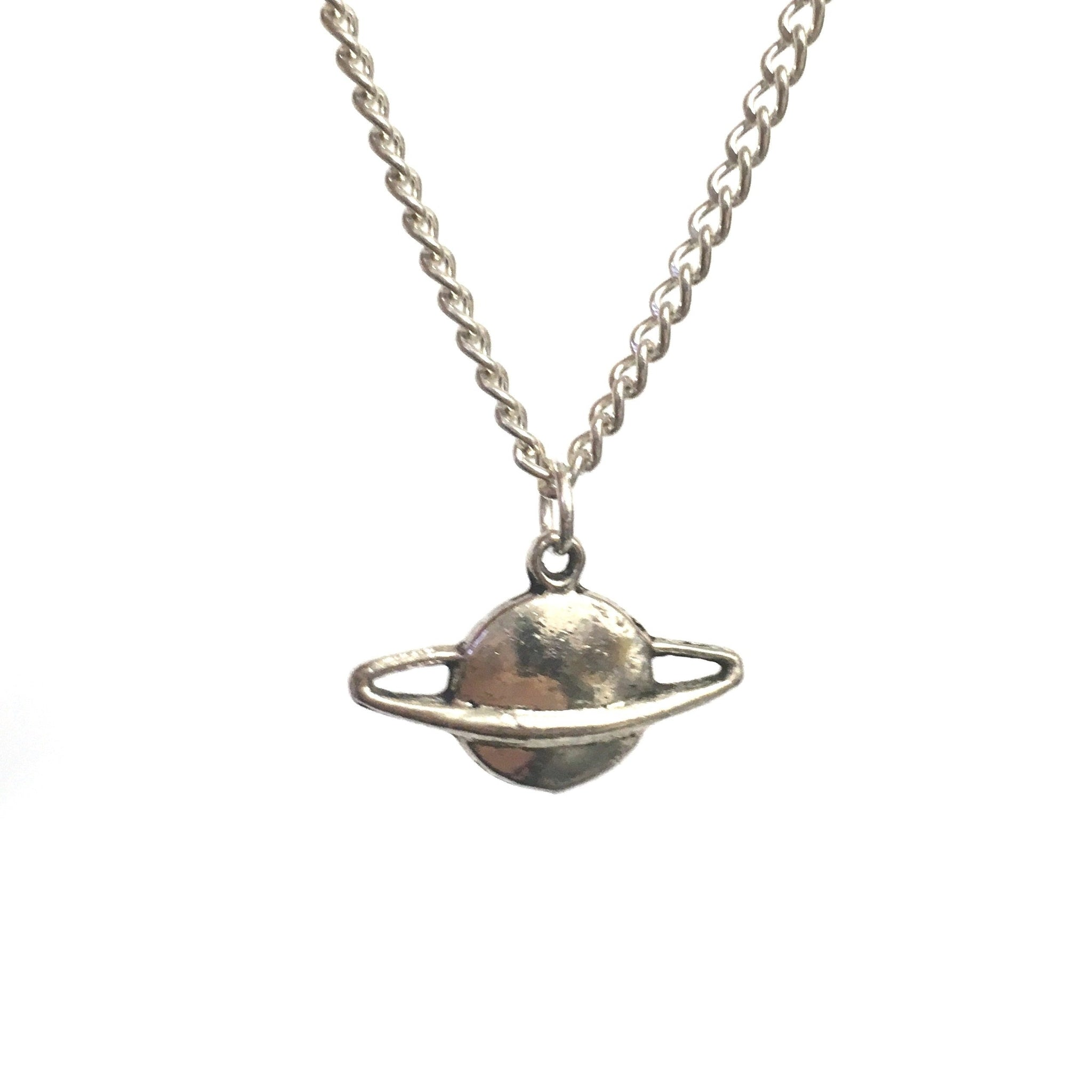 Silver Saturn Pendant Necklace - Minimum Mouse