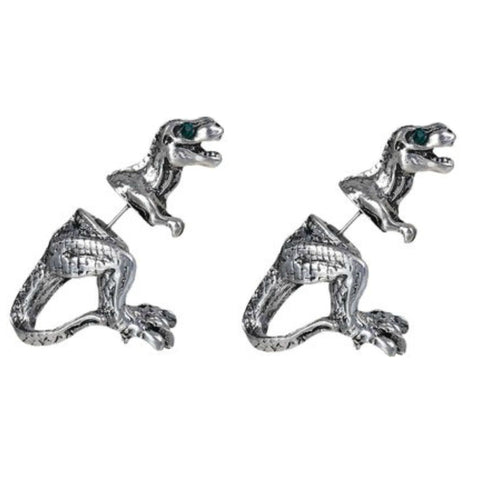Silver T Rex Double Sided Stud Earrings - Minimum Mouse