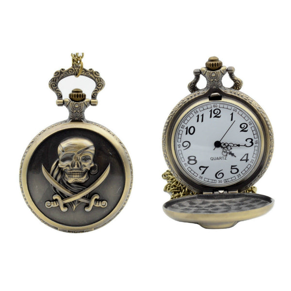 Skull And Crossbones Quartz Pocket Watch - Minimum Mouse