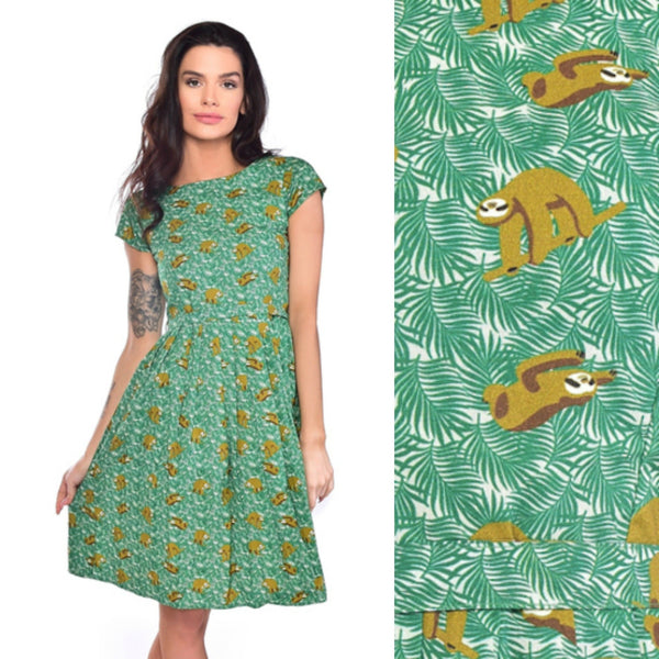 Sleepy Sloth Print Dress by Run and Fly - Minimum Mouse