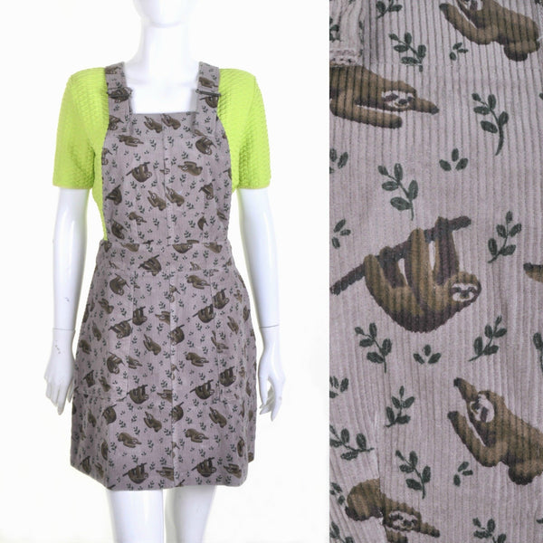 Sloth Corduroy Dungaree Pinafore Dress by Run and Fly - Minimum Mouse
