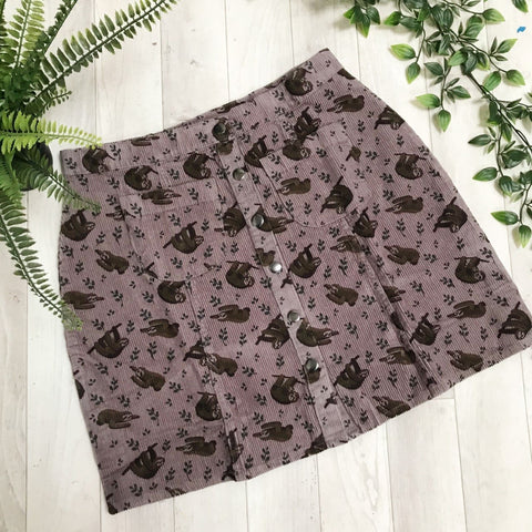 Sloth Print Cord Button Front Skirt by Run and Fly - Minimum Mouse