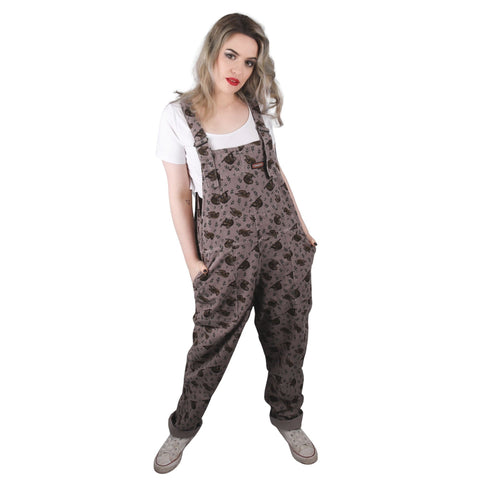 Sloth Print Dungarees in Corduroy by Run and Fly - Minimum Mouse
