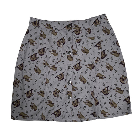 Sloth Print Twill Button Front Skirt by Run and Fly - Minimum Mouse