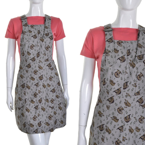 Sloth Print Twill Pinafore Dress by Run and Fly - Minimum Mouse