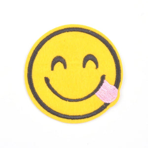 Smiley Face Emoji Iron On Patch-Tongue Out - Minimum Mouse
