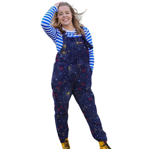 Space Print Dungarees in Corduroy by Run and Fly - Minimum Mouse