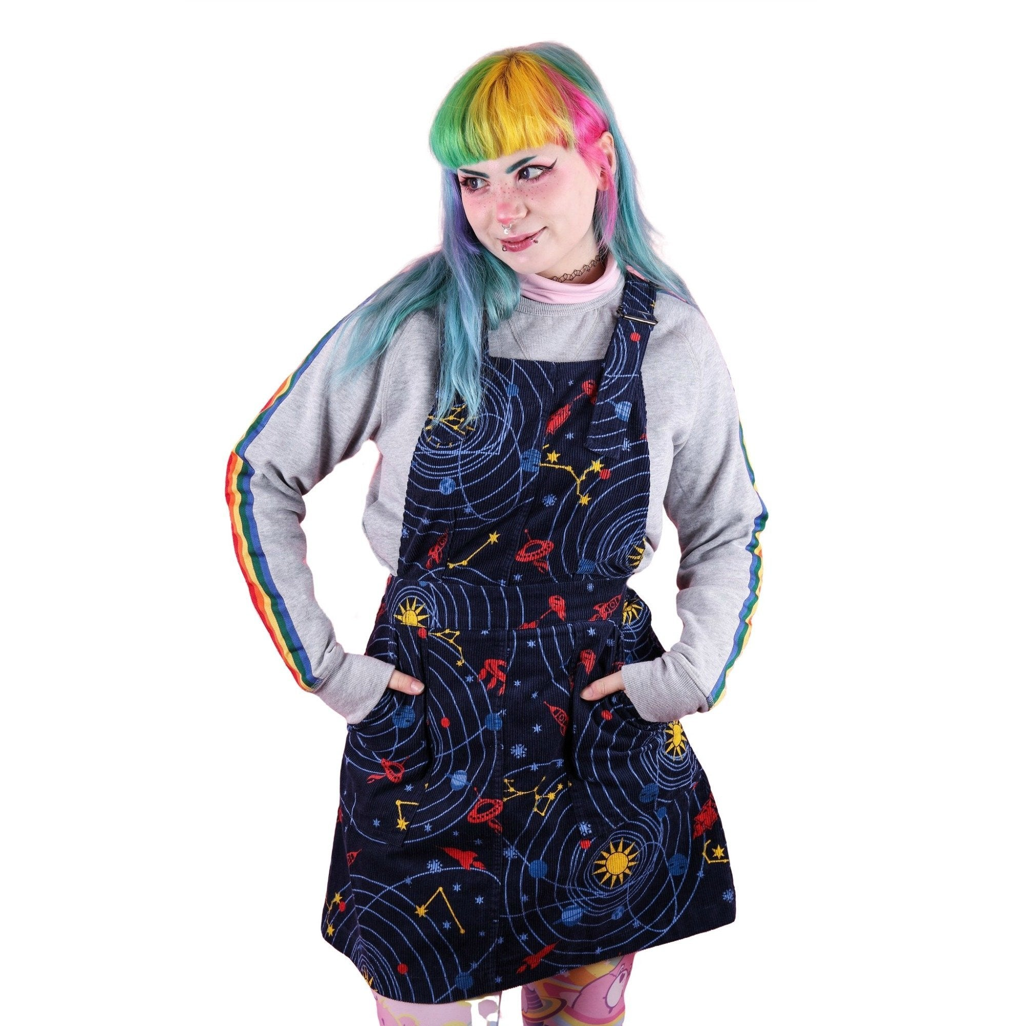 Space Rockets Cord Dungaree Pinafore Dress by Run and Fly - Minimum Mouse