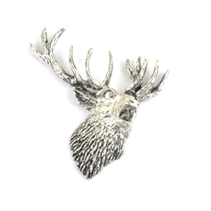 Stag Head Pewter Lapel Pin Badge - Minimum Mouse