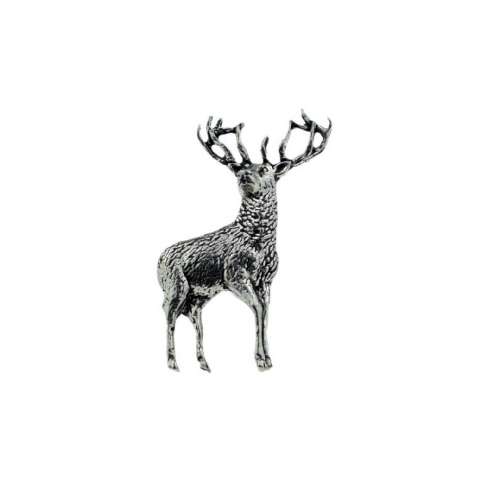 Standing Stag Deer Pewter Lapel Pin Badge - Minimum Mouse