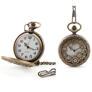Steampunk Cogs Quartz Pocket Watch - Minimum Mouse