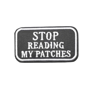 Stop Reading My Patches Funny Iron On Patch - Minimum Mouse