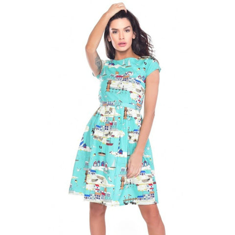 Sunny Seaside Print Dress by Run and Fly - Minimum Mouse